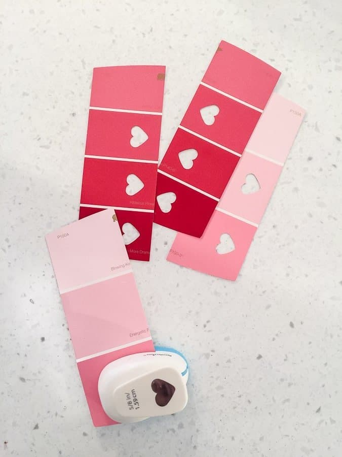 DIY Bookmarks punched with a heart for Valentine's Day.