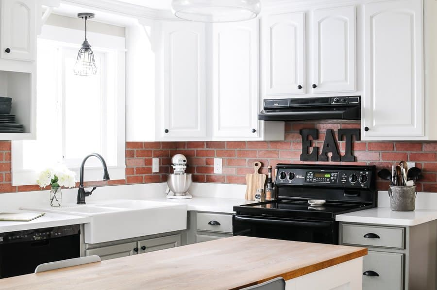 How to Install Faux Brick Backsplash in a Kitchen - Joyful ...