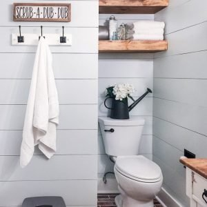 Modern rustic bathroom room makeover.