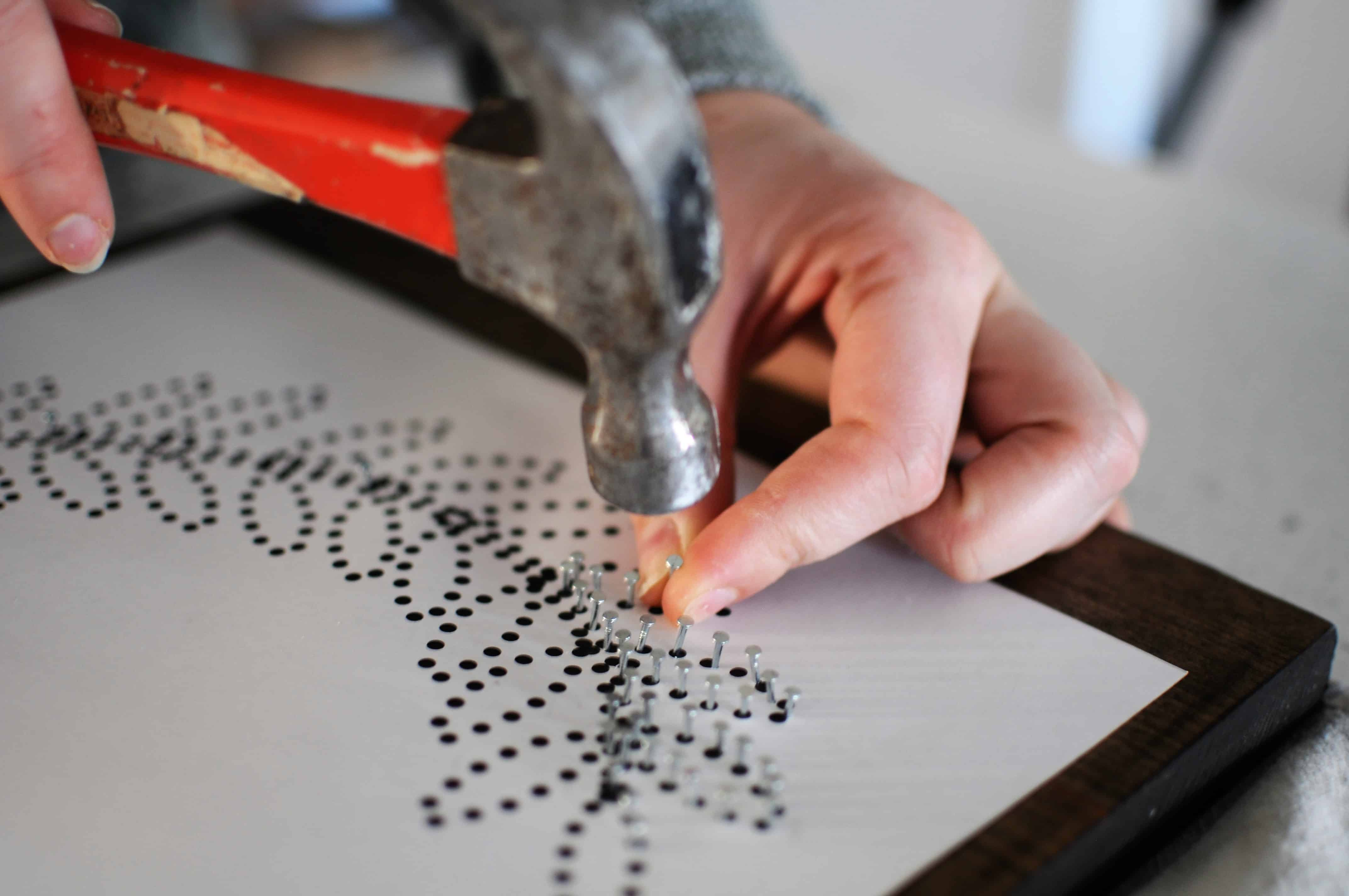 diy string art hammer and nails