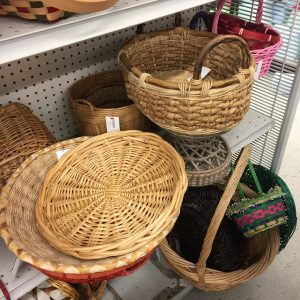 Close up of basket section showing decor at thrift stores.