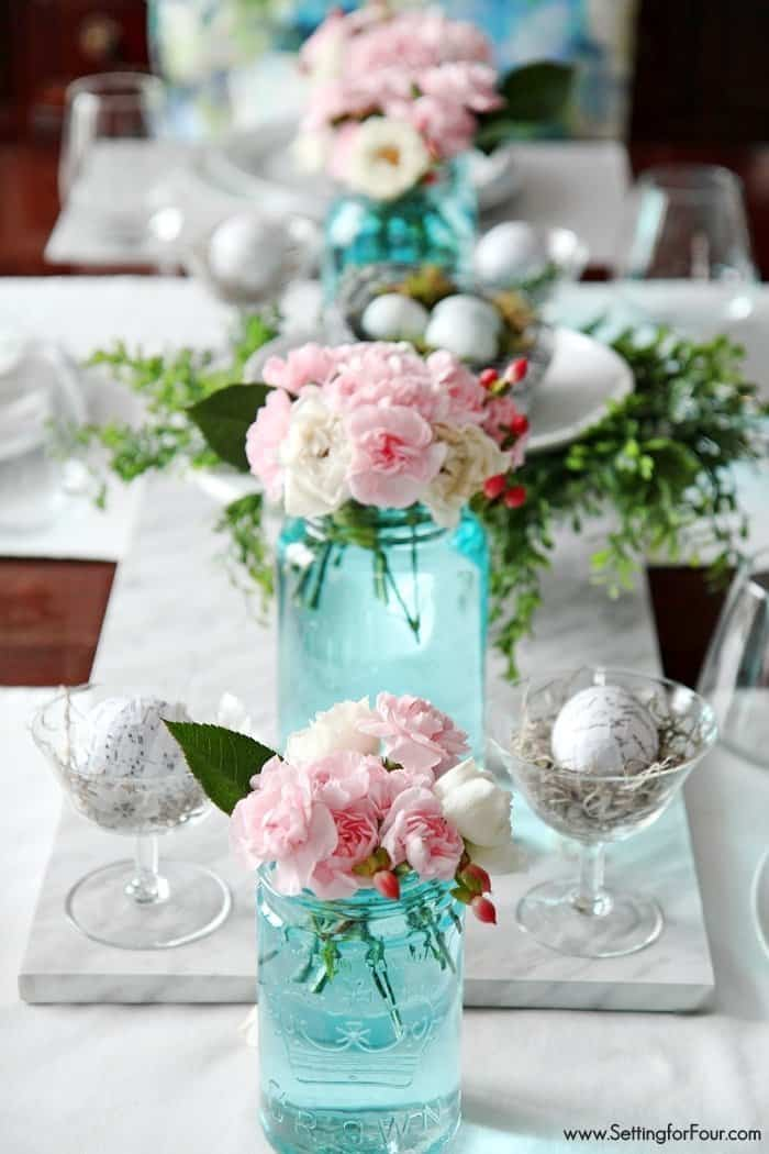 Tablescape with Blue Mason Jars by Heather at Setting for Four