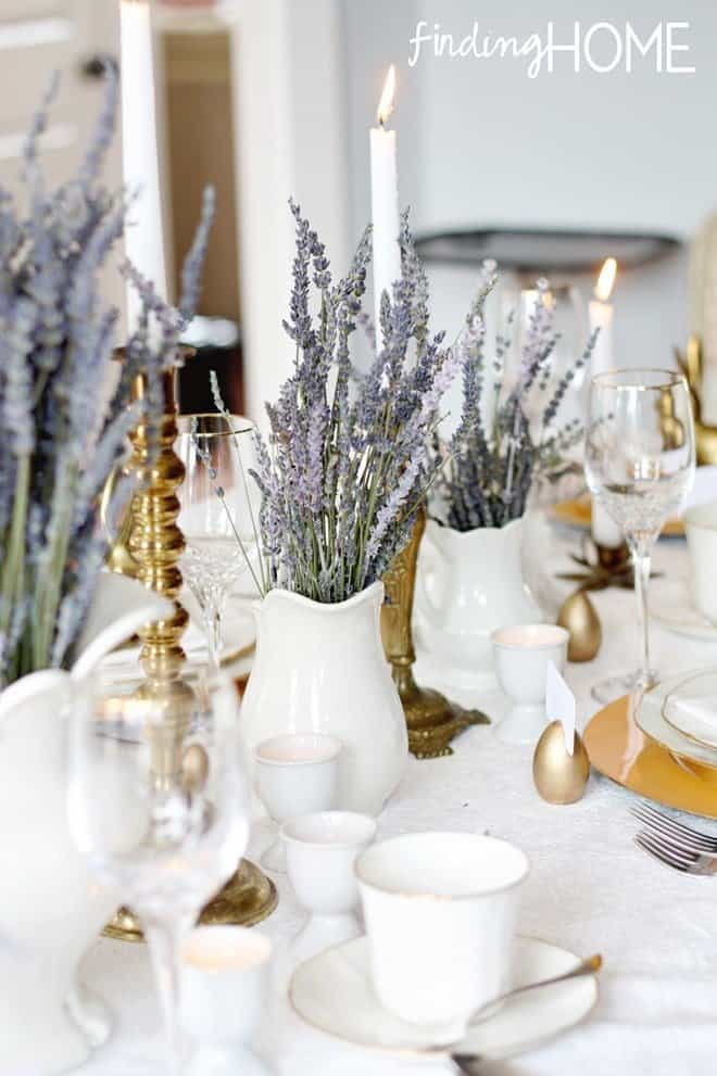 Vintage Brass and Lavender Easter Tablescape by Laura at Finding Home