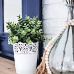 Small greenery plant in a white lace-styled pot used in summer mantel decorating ideas.