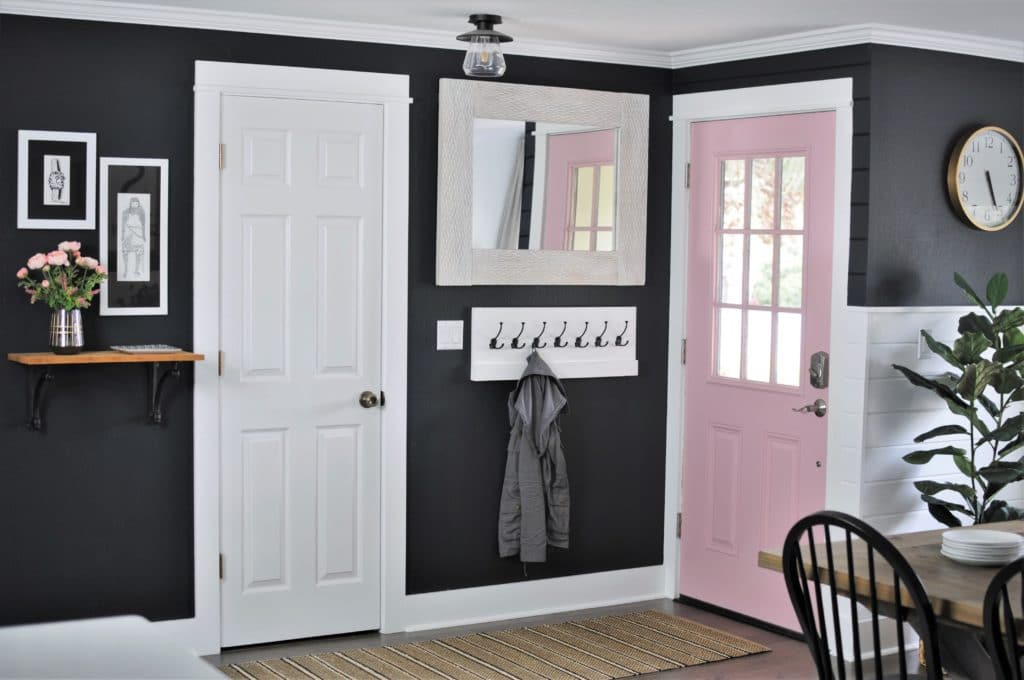 Black Paint and Pink Door in Dining Room