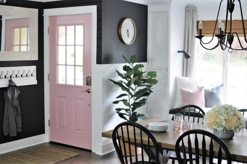 Dining Room with Pink Interior Front Door