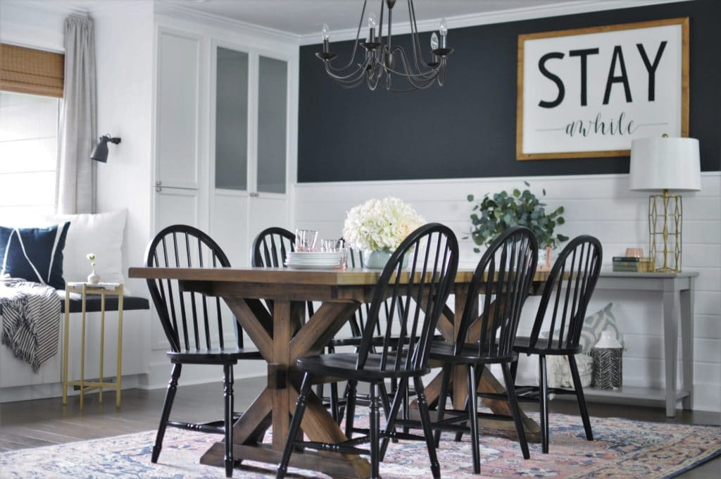 Black and Shiplap Wall in Dining Room