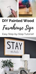 Images of building steps for a DIY painted wood farmhouse sign.