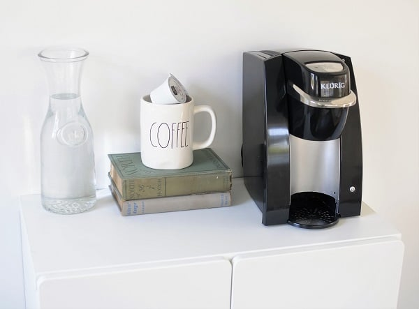 She shed home office coffee bar.