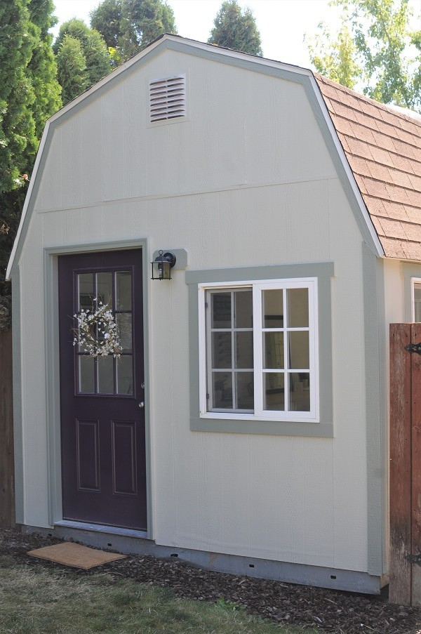 Exterior view of the she shed home office.