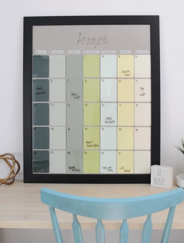 DIY paint chip calendar in the she shed.