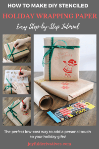 Tutorial for making holiday DIY wrapping paper with brown paper, a Pilot G2 Pen and ribbon.