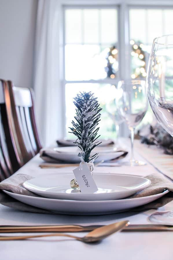 White Amp Gold Tablescape With A Christmas Table Garland Centerpiece
