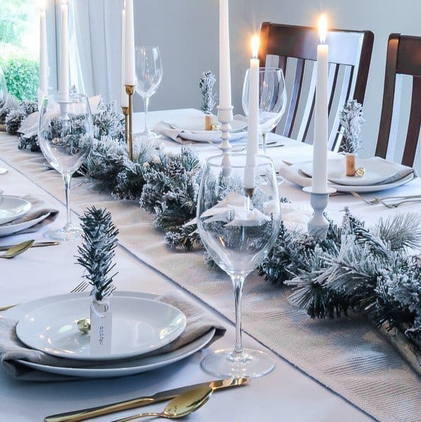 White & Gold Tablescape with a Christmas Table Garland Centerpiece