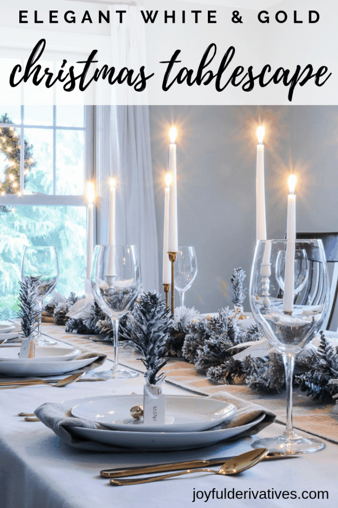 White Gold Tablescape With A Christmas Table Garland Centerpiece