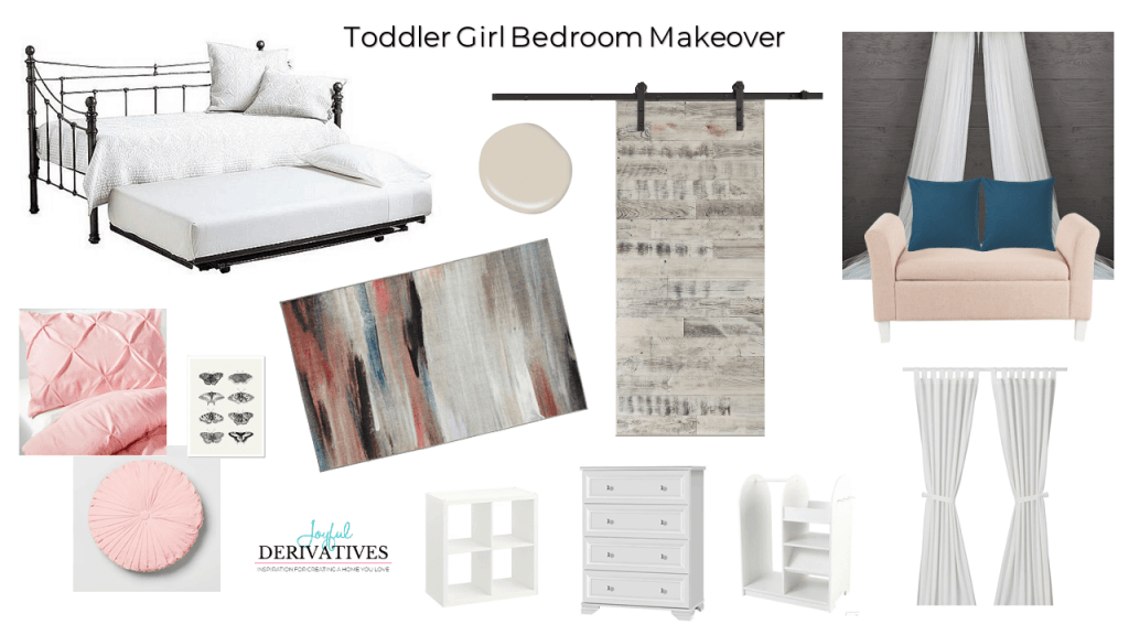Mood board design for little girl room makeover.