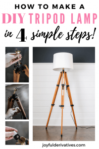 Pinnable Image for DIY Floor Lamp out of a tripod.