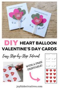 Pin Image for DIY Heart Balloon Homemade Valentines Cards.