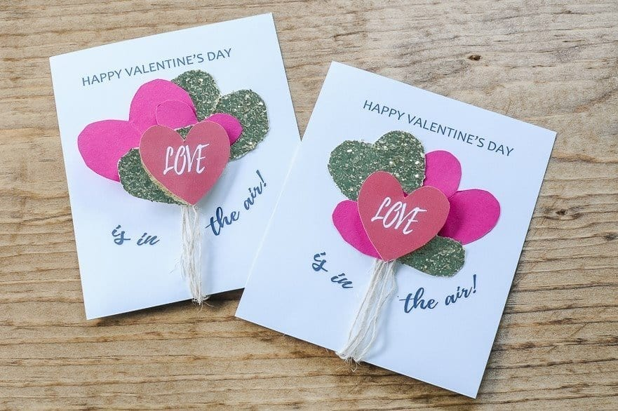 Balloon heart homemade valentines - easy Valentine's Day Cards with printable.