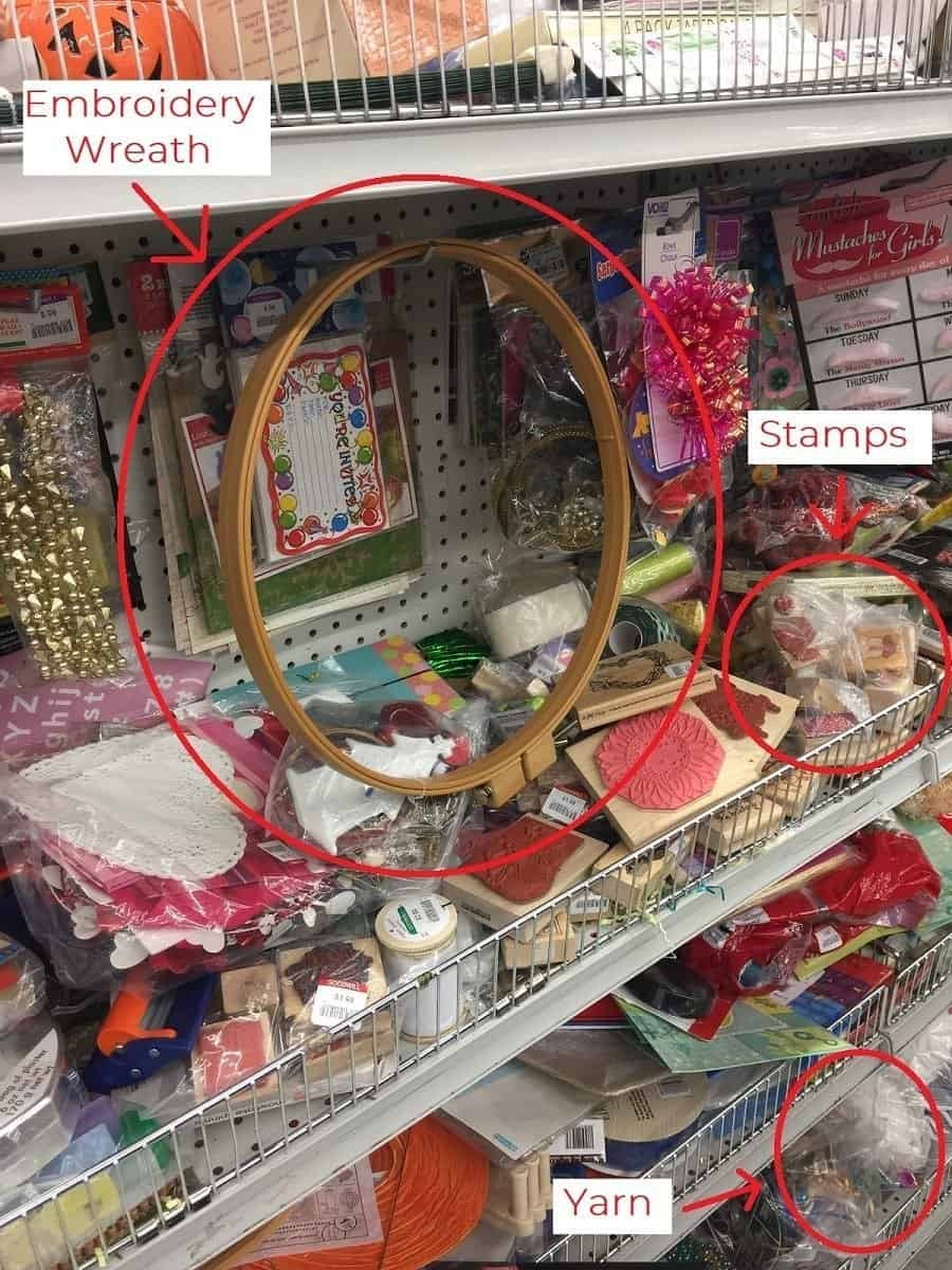 Thrift store shelf of crafting supplies with items to consider buying circled in red.