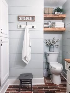 Modern rustic bathroom as an example for how to install shiplap.