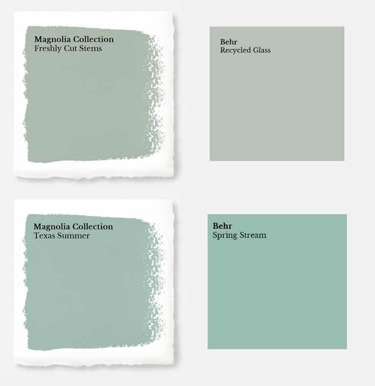 Green magnolia paint color matched to Behr colors.