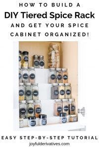 Pin image for organizing spices in a cabinet.
