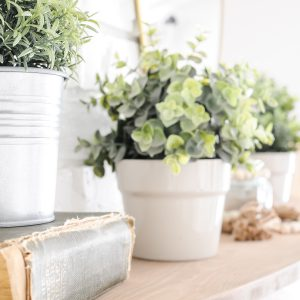 Greenery in silver and cream pots on a wood mantel in spring living room.