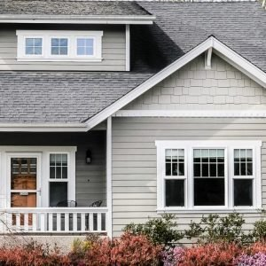 Close up of craftsman exterior paint color combinations.