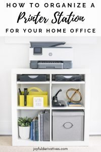 "White bookcase with a printer on top and ""How to organize a printer station for your home office"" text overlay."