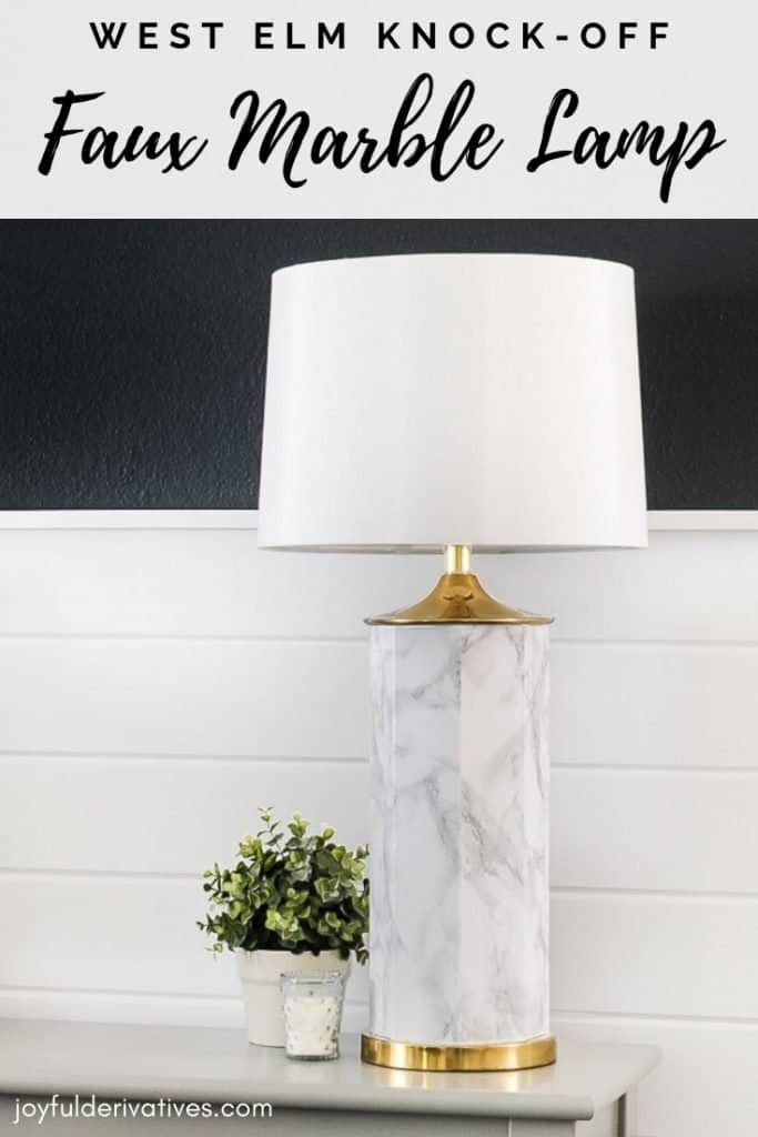 Diy Faux Marble Table Lamp Makeover With Contact Paper Joyful Derivatives
