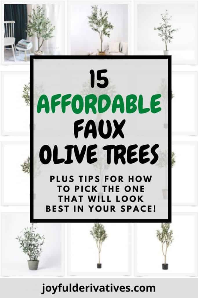 """Collage of faux olive trees with text overlay """"15 Affordable Faux Olive Trees"""""""